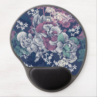 Mystical Blue Purple floral sketch artsy pattern Gel Mouse Pad