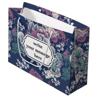 Mystical Blue Purple floral sketch artsy pattern Large Gift Bag