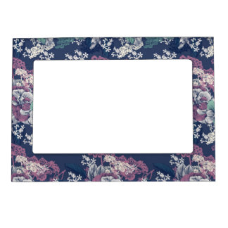 Mystical Blue Purple floral sketch artsy pattern Magnetic Picture Frame