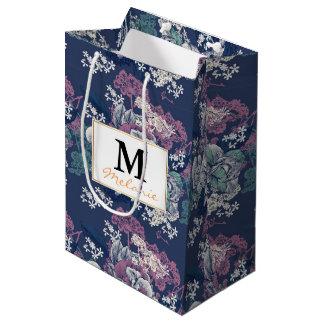 Mystical Blue Purple floral sketch artsy pattern Medium Gift Bag