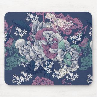 Mystical Blue Purple floral sketch artsy pattern Mouse Pad