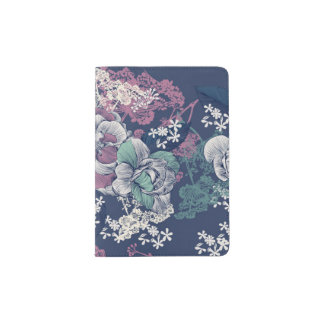 Mystical Blue Purple floral sketch artsy pattern Passport Holder