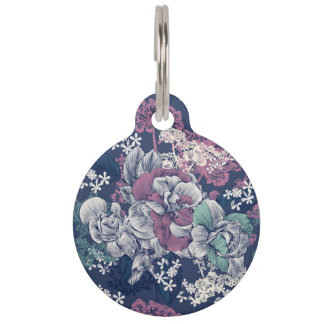 Mystical Blue Purple floral sketch artsy pattern Pet Name Tag
