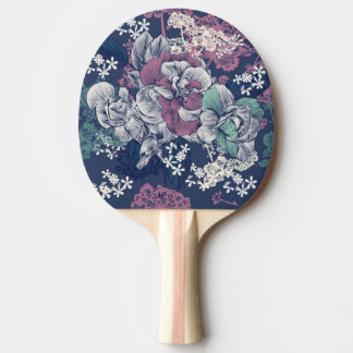 Mystical Blue Purple floral sketch artsy pattern Ping Pong Paddle