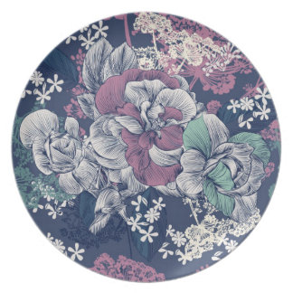 Mystical Blue Purple floral sketch artsy pattern Plate