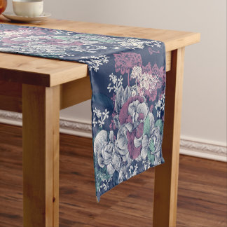 Mystical Blue Purple floral sketch artsy pattern Short Table Runner