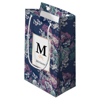 Mystical Blue Purple floral sketch artsy pattern Small Gift Bag