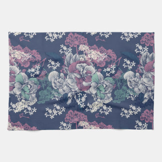 Mystical Blue Purple floral sketch artsy pattern Tea Towel