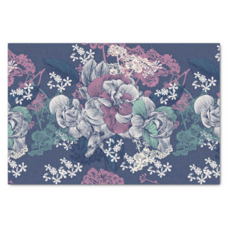Mystical Blue Purple floral sketch artsy pattern Tissue Paper