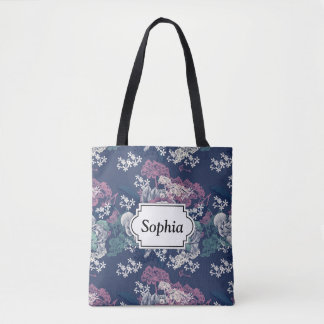 Mystical Blue Purple floral sketch artsy pattern Tote Bag