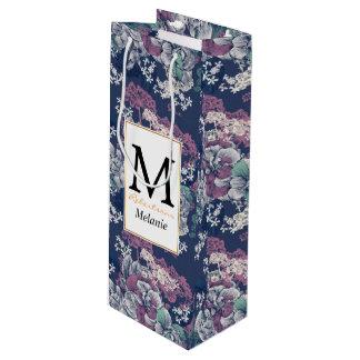 Mystical Blue Purple floral sketch artsy pattern Wine Gift Bag
