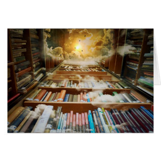 Mystical Bookshelf Climbing to Heaven Artwork Card