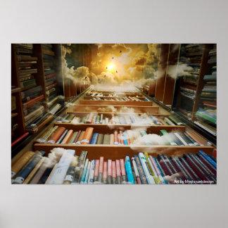 Mystical Bookshelf Towering Towards the Heavens Poster