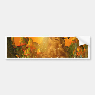 Mystical cave with mushrooms bumper sticker