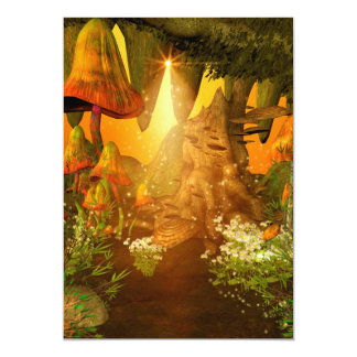 Mystical cave with mushrooms 5x7 paper invitation card