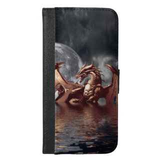 Mystical Dragon and Ocean Moon Fantasy Design iPhone 6/6s Plus Wallet Case