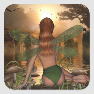 Mystical Fairy Watching Water Reflection stickers