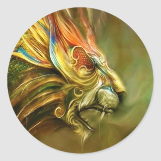 Mystical Fantasy Lion's Head Profile Classic Round Sticker