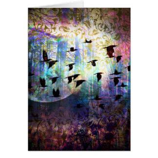 Mystical Forest and Raven Moon Greeting Card
