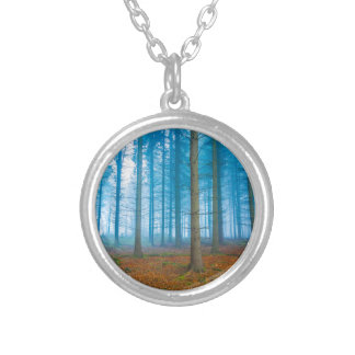 Mystical Forest at the fog in blue and orange Silver Plated Necklace