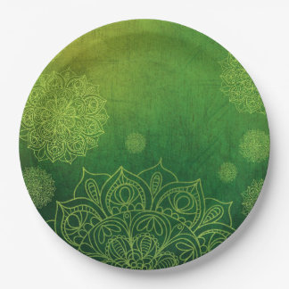 Mystical Forest Green Mandala Party Paper Plates 9 Inch Paper Plate