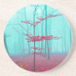 Mystical forest in red and turquoise drink coaster