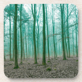 Mystical Forest in the fog in Green Drink Coasters