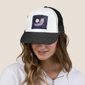 Mystical Girl Pink Hair Moon Blue Trucker Hat