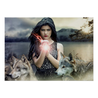 Mystical Gothic Girl with Wolves and Magical Light Poster