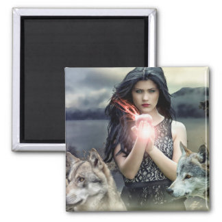 Mystical Gothic Girl with Wolves and Magical Light Square Magnet