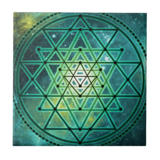 Mystical Green Sri Yantra Tile