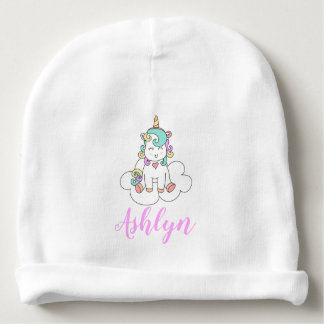 Mystical Magical Happy Unicorn on a Cloud Name Baby Beanie