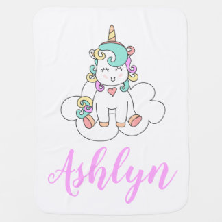 Mystical Magical Happy Unicorn on a Cloud Name Baby Blanket