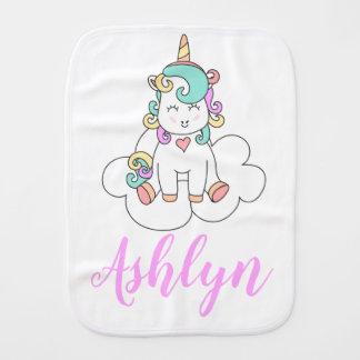 Mystical Magical Happy Unicorn on a Cloud Name Burp Cloth