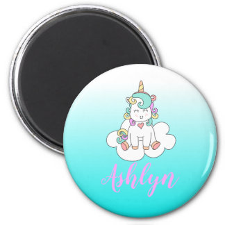 Mystical Magical Unicorn on a Cloud Name Blue Magnet