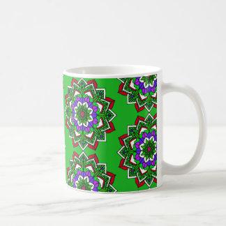 Mystical Mandala Red Purple Pale Green Coffee Cup