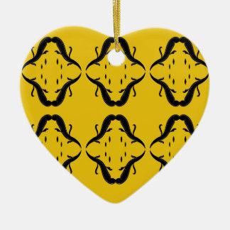 Mystical mandalas black on gold ceramic ornament