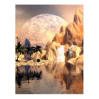 Mystical moon landscape postcard