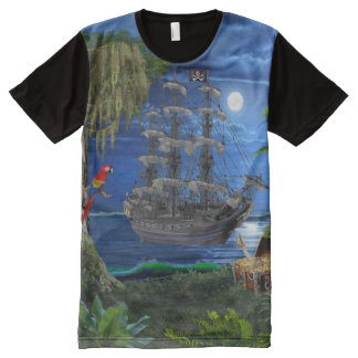 Mystical Moonlit Pirate Ship All-Over Print T-Shirt