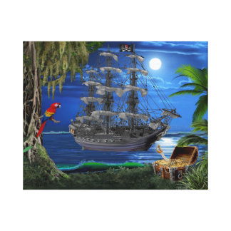 Mystical Moonlit Pirate Ship Canvas Print