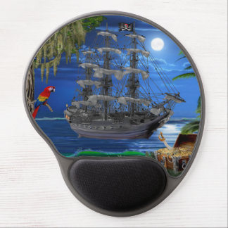 Mystical Moonlit Pirate Ship Gel Mouse Pad