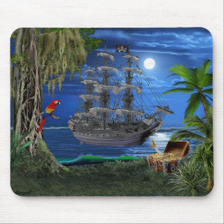 Mystical Moonlit Pirate Ship Mouse Pad