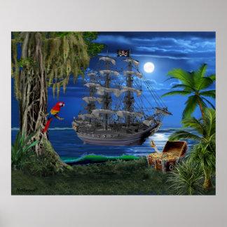 Mystical Moonlit Pirate Ship Poster