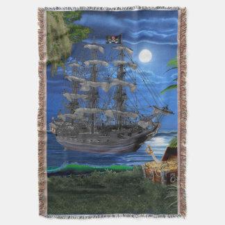Mystical Moonlit Pirate Ship Throw Blanket