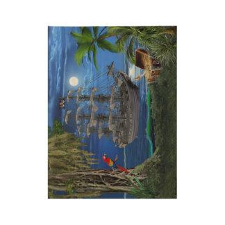 Mystical Moonlit Pirate Ship Wood Poster