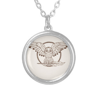 Mystical Owl in Flight Silver Plated Necklace