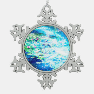 Mystical Pond Snowflake Pewter Christmas Ornament