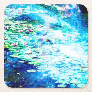 Mystical Pond Square Paper Coaster