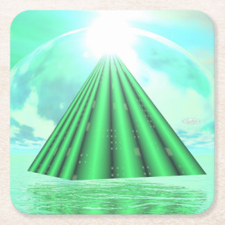 Mystical pyramid - 3D render Square Paper Coaster