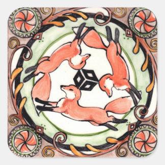 Mystical Red Fox Trio Sticker Orange Brown Green